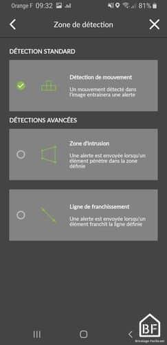 Caméra Tycam : mode de détection