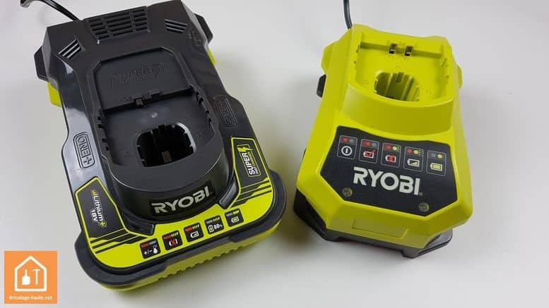 batterie 5Ah one+ ryobi - comparaison des 2 chargeurs