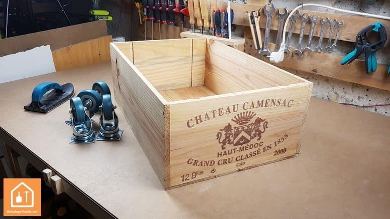 Caisse en bois à roulettes - matériel nécessaire