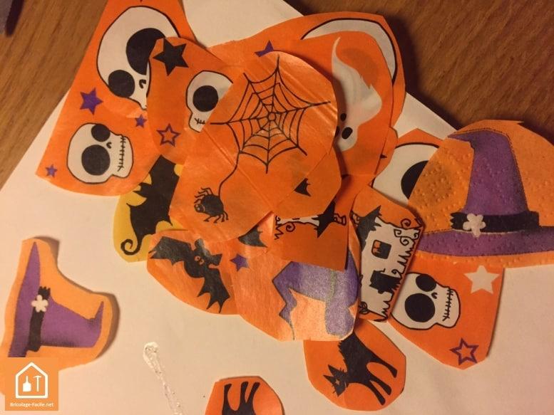 Décopatch halloween - collage des décorations