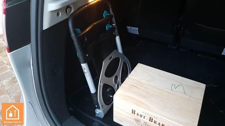 diable pliant TS300 de wolfcraft - dans le coffre de la voiture