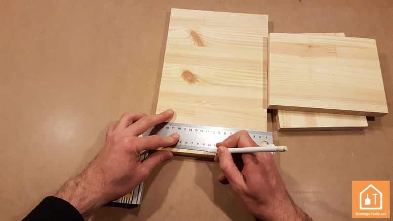 Fabriquer un marche pied en bois - marquage