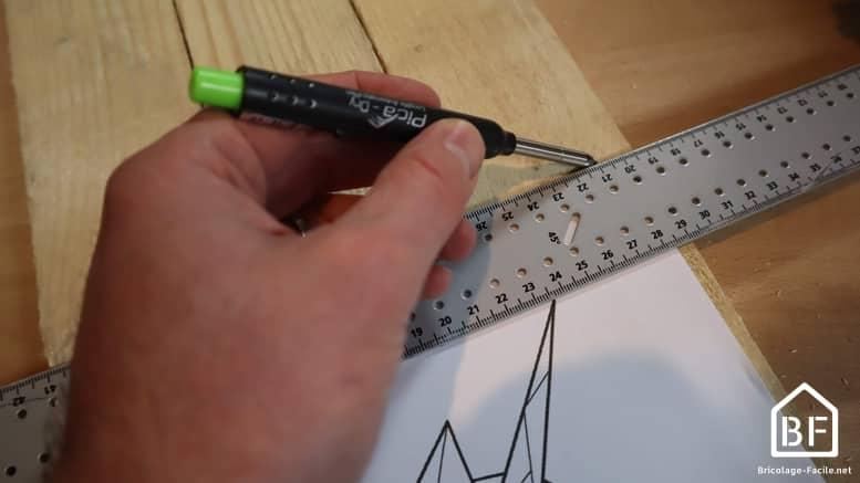 traçage de la planche du string art