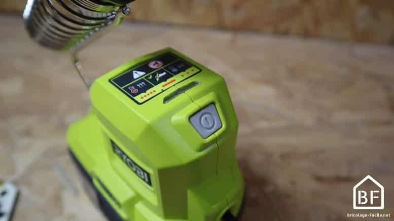 bouton de mise en service du fer à souder