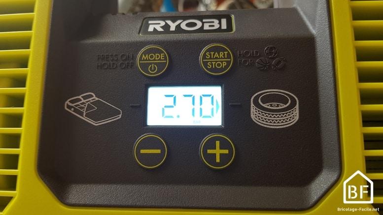 affichage LCD de la pression choisie