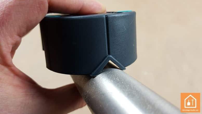 guide perçage Wolfcraft - utilisation du guide sur un tube métal