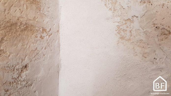 Lait de chaux appliquée sur un mur