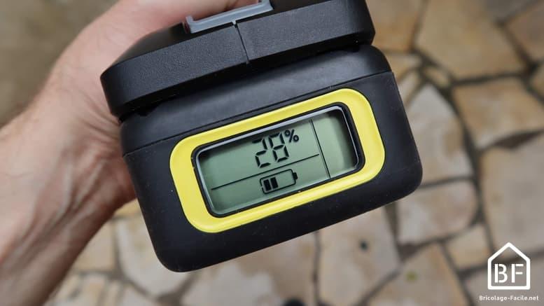 indicateur de pourcentage de charge sur la batterie