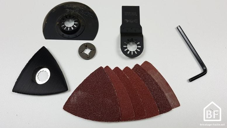 les accessoires fournis avec l'outil multifonction RYOBI RMT1801M 18V ONE+