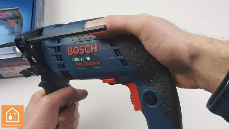 Perceuse à percussion GSB 13 RE de Bosch Professional - position haute