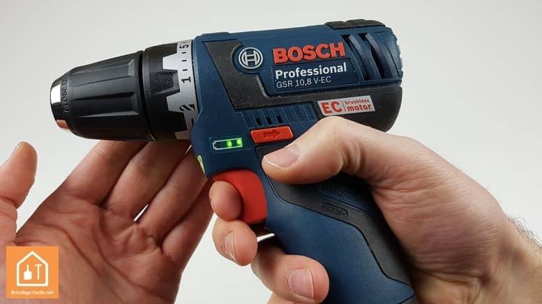 perceuse sans fil GSR 10,8V Bosch Professional - témoin de charge