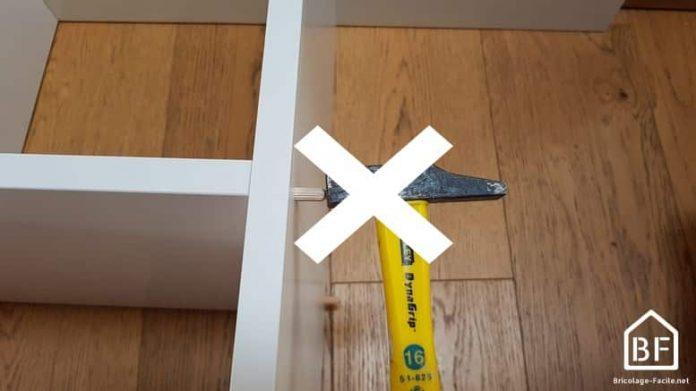 ne pas utiliser directement de marteau