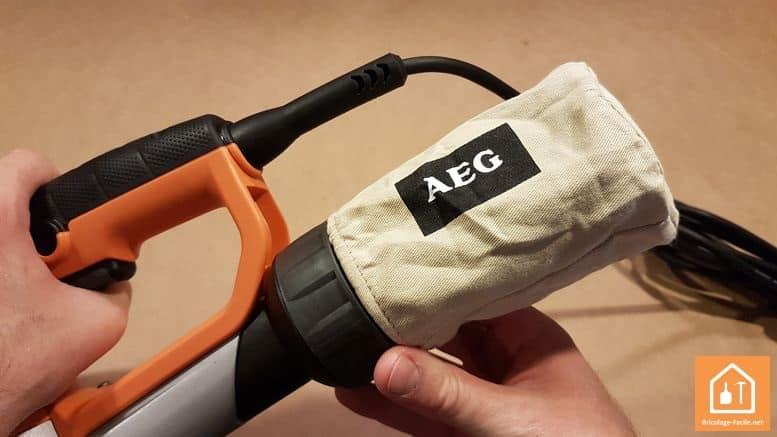 ponceuse excentrique EX 150 E d'AEG - récupérateur de poussières