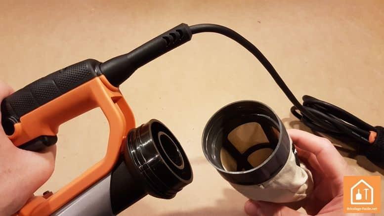 ponceuse excentrique EX 150 E d'AEG - récupérateur de poussières retiré