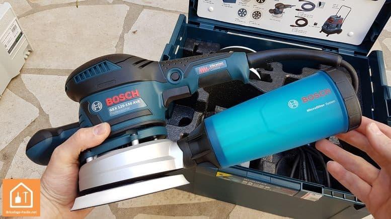 Ponceuse excentrique GEX 125-150AVE de Bosch - récupérateur de poussières