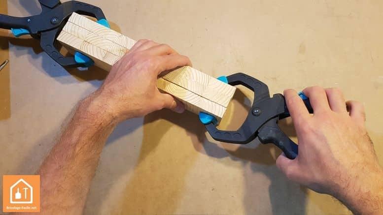 porte crayon en bois - collage des planches