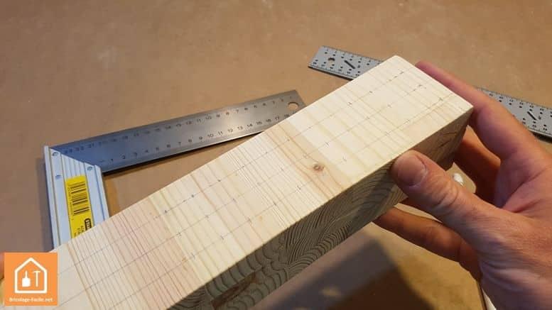 porte crayon en bois - les trois lignes tracées