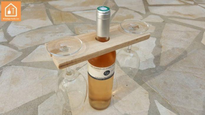 Porte verre à vin en bois