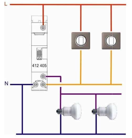 Schéma d'une installation avec télérupteur
