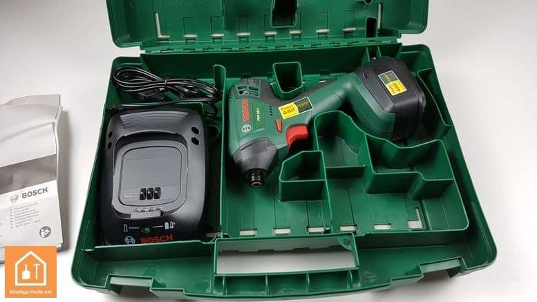 Visseuse à chocs sans fil PDR 18 LI de Bosch - contenu de la malette